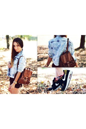 denim Topshop jacket - chiffon River Island shorts - air max nike sneakers