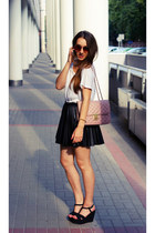 bubble gum no name bag - white Topshop t-shirt - black Zara wedges
