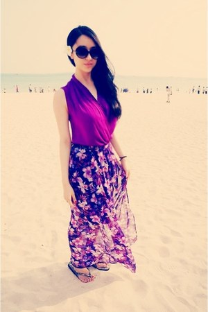 magenta Mango dress - amethyst Forever21 skirt