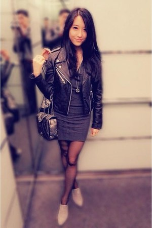 black Zara jacket - silver Chanel bag
