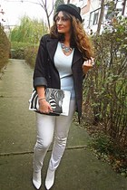 white H&M boots - white Pimkie jeans - black new look hat - white Bershka bag