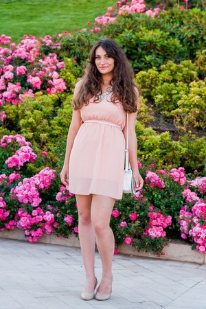 pink no name dress - eggshell Bershka heels - light pink dresslily necklace