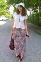 light purple maxi thrifted skirt - white random brand hat