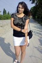 black lace back Pimkie top - black thrifted bag - black rivet Ebay bracelet