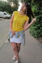 white denim H&M skirt - light blue bart simpson Udobuy shirt