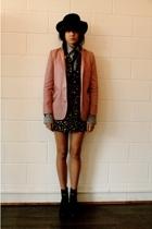 Mini Market blazer - Hyden Yoo shirt - H&M dress - vintage hat - Colonial Madnes