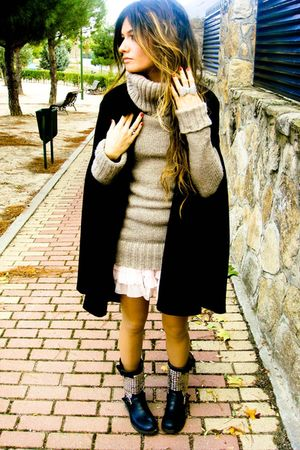 black cape Zara coat - black ASH boots - beige Zara sweater - pink Primark skirt