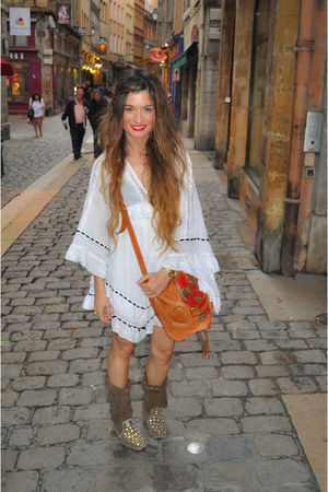white Topshop dress - brown ibiza las dalias shoes - brown Gucci purse