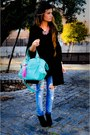 Necklace-purse-cape-jeans-shoes-sweater