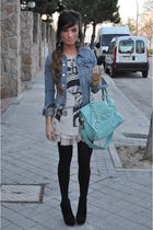 denim H&M jacket - black Pura Lopez shoes - blue turquoise balenciaga bag
