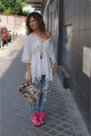 Sfera shirt - pink Miss Sixty shoes - Zara jeans - hippie market bag