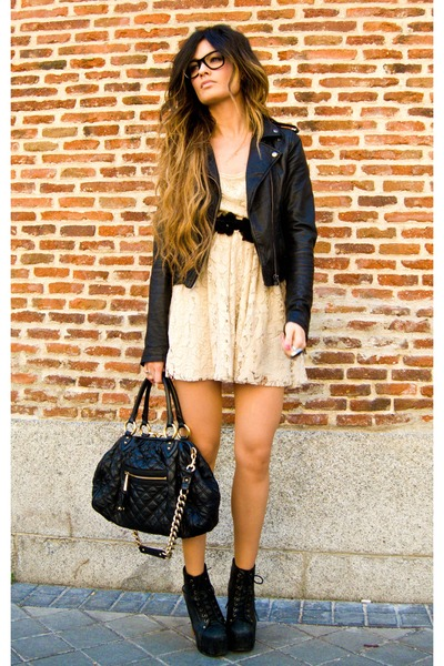lace Zara dress - lita Jeffrey Campbell shoes - leather Topshop jacket
