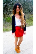 red leather Zara skirt - camel GoJane shoes - black Isabel Marant cardigan