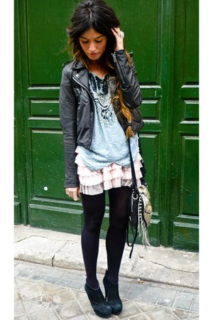 black leather Topshop jacket - Zara bag - light pink Primark skirt - light blue