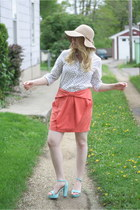 aqua romwe sandals - beige floppy H&M hat - coral bow H&M skirt