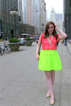 yellow neon Skater Skirt skirt - coral coral chiffon blouse