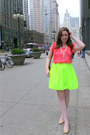 Yellow-neon-skater-skirt-skirt-coral-coral-chiffon-blouse