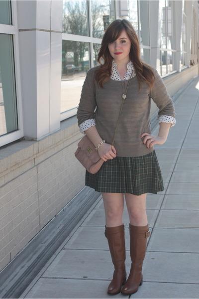 tartan Tommy Hilfiger skirt - leather Elie Tahari boots - grey Loft sweater