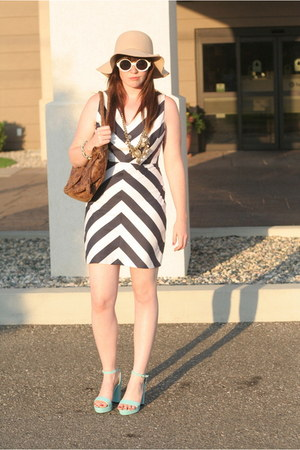 ann taylor necklace - chevron Opitz dress - beige floppy H&amp;M hat