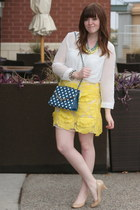 polka dot OASAP bag - white chiffon OASAP blouse - Choies skirt