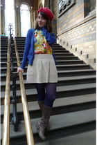 light brown boots - ruby red hat - navy tights - blue cardigan - yellow blouse -