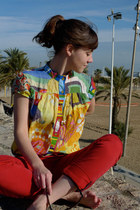 red Zara jeans - mulitcoloured desigual blouse - white les jumelles necklace