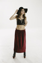 Vtg 90s Oxblood burnout velvet long maxi skirt s-m