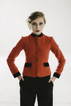 New Vintage 80s Wool Red Black Military Couture fitted Jacket