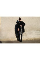 black Zara boots - black Zara coat - black Zara skirt