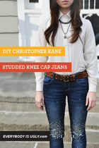 DIY Christopher Kane Studded Knee Cap Jeans