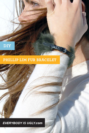 army green fur and leather Runway DIY bracelet