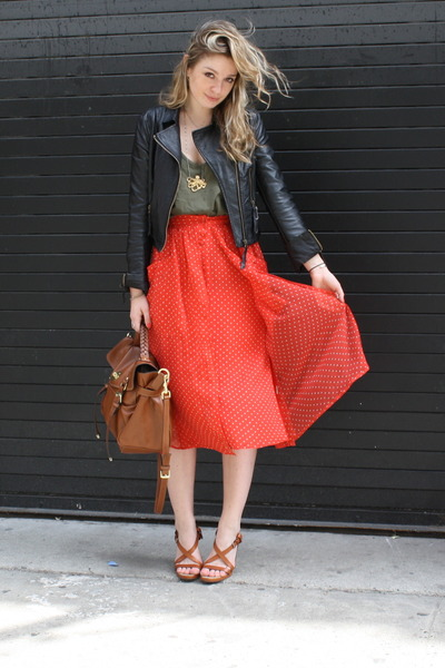 thrifted jacket - Mulberry bag - Forever21 top - Rebecca Taylor skirt