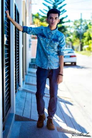 turquoise blue Topman shirt - brown wbrown shoes - blue Marlboro Classic pants