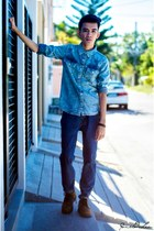 turquoise blue Topman shirt - brown wbrown shoes - blue Marlboro Classic pants