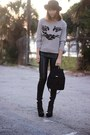 Heather-gray-cat-oasap-sweater-black-nine-west-bag-black-leather-hm-pants