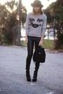 Heather-gray-cat-oasap-sweater-black-nine-west-bag-black-leather-hm-pants