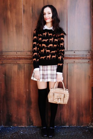 eggshell skirt - dark brown Payless shoes - black H&M sweater - tan bag