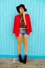 Black-shoes-black-hat-red-blazer-sky-blue-shorts-yellow-top