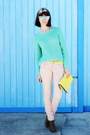 aquamarine sunglasses - aquamarine sweater - light pink pants