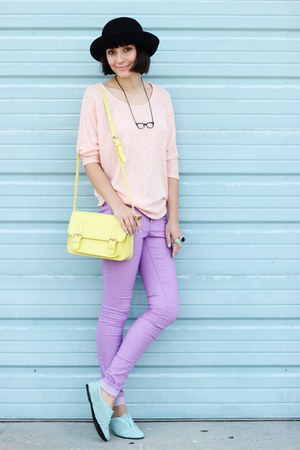 light purple Forever 21 jeans - black thrifted hat - light yellow bag