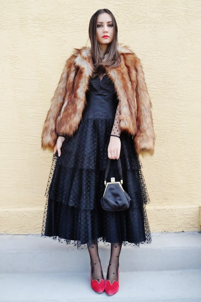 black vintage dress - bronze H&M coat - black asos tights