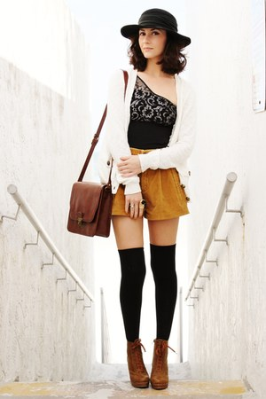 bronze shorts - burnt orange boots - black bodysuit - black ring