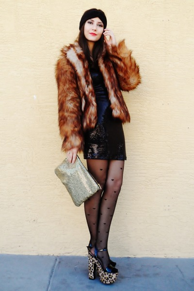 black sequined Love dress - camel leopard shoes - bronze fur H&M coat