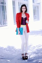 ruby red blazer - turquoise blue bag - purple top - off white pants