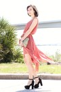 Coral-love-dress-black-shoes-gold-sequin-bag-gold-arty-ring