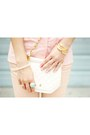 Gold-romwe-bracelet-beige-rampage-shoes-light-pink-thrifted-shirt