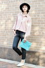 Light-blue-target-shoes-light-pink-vintage-shirt-aquamarine-pieces-bag