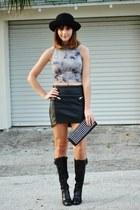 black hm skirt - black etienne aigner boots - black Forever21 bag