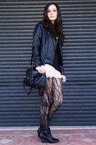 black Target tights - black Forever 21 boots - black jacket - black bag