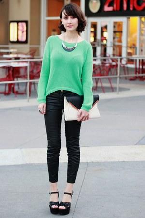 aquamarine Forever 21 sweater - black H&M jeans - eggshell Forever 21 bag